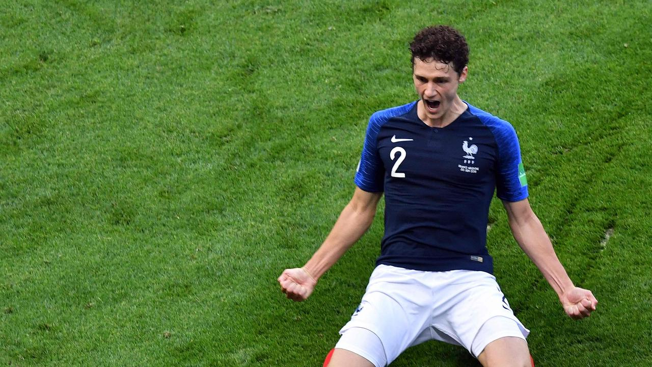 France's Benjamin Pavard celebrates after scoring his team's second goal against Argentina.