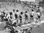Children line up on the Adelaide City Bath diving board in 1956.