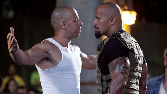 Vin Diesel and Dwayne Johnson face off in Fast & Furious 5.
