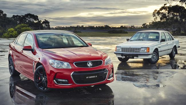 The last generation Holden Commodore, left, with the first from 1978. Picture: Supplied.