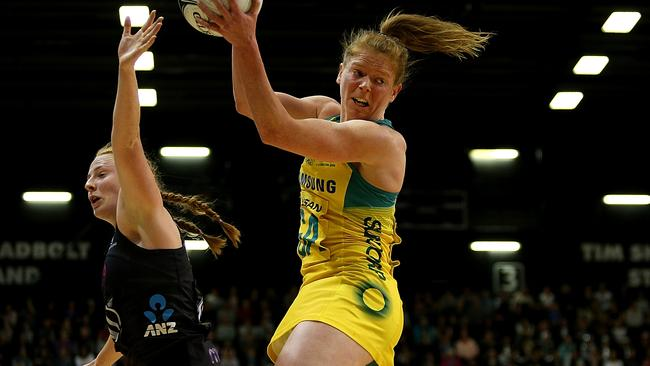 Tegan Philip intercepts the ball during Australia's costly loss to New Zealand.