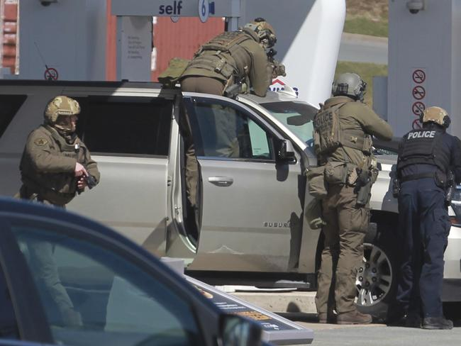 The suspect at the patrol station in Enfield, Nova Scotia. Picture: Tim Krochak/The Canadian Press via AP