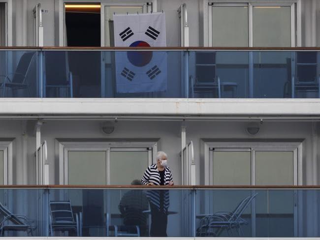 A South Korean flag hangs outside a cabin of the quarantined Diamond Princess. Picture: Jae C. Hong