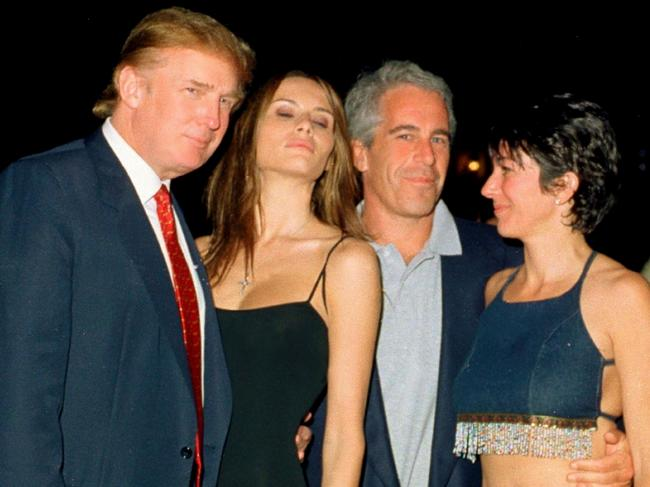Donald Trump and his then girlfriend <span id='U702039460182ia' style='letter-spacing:-0.001em;'>Melania </span>Knauss, Jeffrey Epstein, and British socialite Ghislaine Maxwell at the Mar-a-Lago club, Palm Beach, Florida, February 12, 2000. Picture: Davidoff Studios/Getty Images