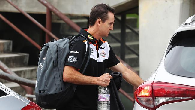 Wests Tigers coach Jason Taylor leaves Concord Oval after being sacked. Picture: Brett Costello