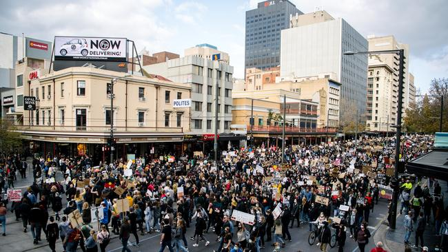 Protesters rally in Adelaide in solidarity with the US protests for George Floyd. Picture: AAP/Morgan Sette