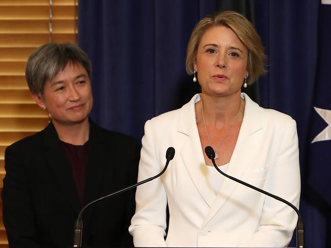 Labor's Senate Leader Penny Wong and Labor Deputy Leader in the Senate Kristina Keneally. Picture: Kym Smith