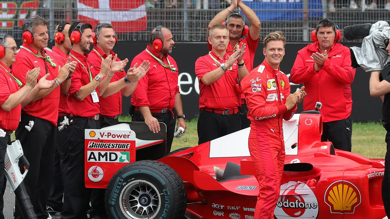 Mick Schumacher reacts after driving the Ferrari F2004 of his father in Hockenheim.