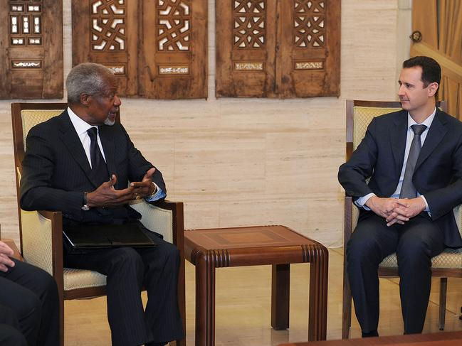 Syrian President Bashar Assad, right, meets with Kofi Annan, the United Nations special envoy to Syria, in Damascus, Syria, on Saturday March 10, 2012. Picture: AP