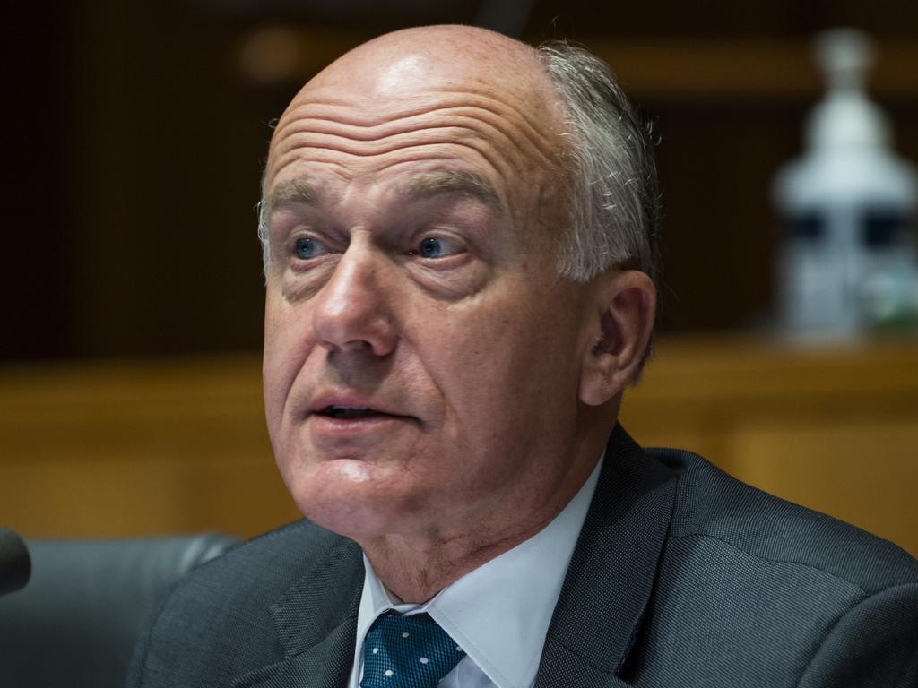 Liberal senator Eric Abetz pressed Mr Clifton on abuses in Xinjiang. Picture: Martin Ollman / NCA NewsWire