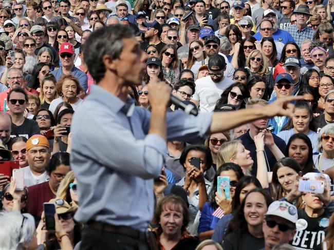 Beto O'Rourke addresses a campaign rally. Picture: Getty