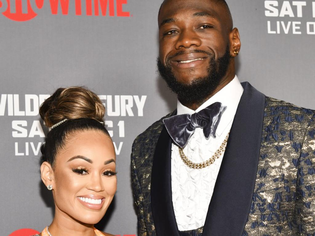 "LOS ANGELES, CALIFORNIA - DECEMBER 01: Telli Swift (L) and Deontay Wilder attend the Heavyweight Championship of The World ""Wilder vs. Fury"" Premiere at Staples Center on December 01, 2018 in Los Angeles, California. (Photo by Rodin Eckenroth/Getty Images)"