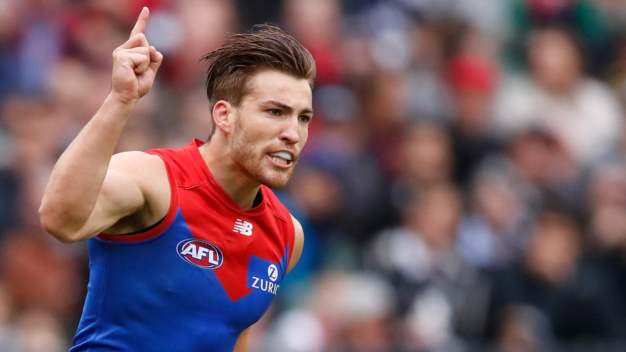 Jack Viney celebrates a goal for Melbourne earlier this season.