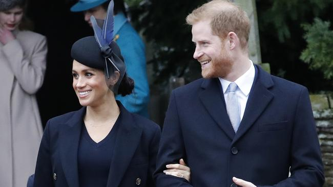 Prince Harry and Meghan at the Christmas Day service at St Mary Magdalene Church in Sandringham. Picture: AP Photo/Frank Augstein
