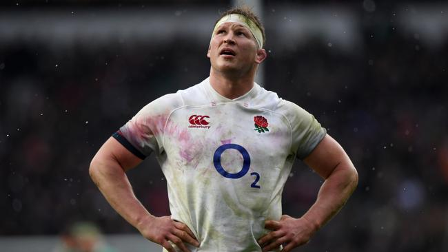 Dylan Hartley of England looks dejected during the Six Nations.