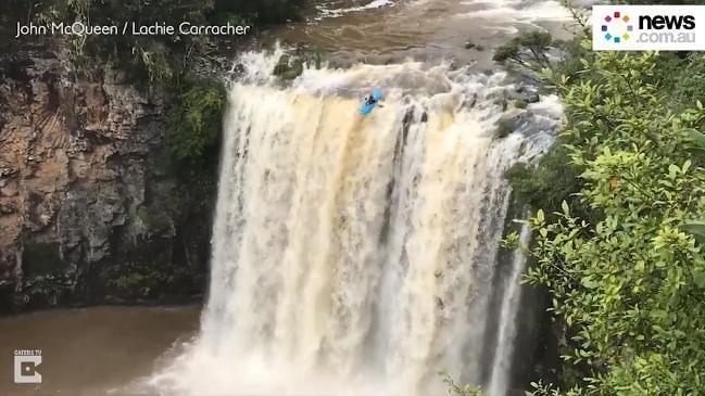 Kayaker Plunges Down Huge Waterfall