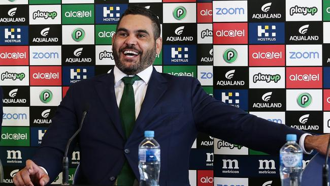 There were plenty of smiles as Greg Inglis announced his retirement from rugby league. Picture: Brett Costello