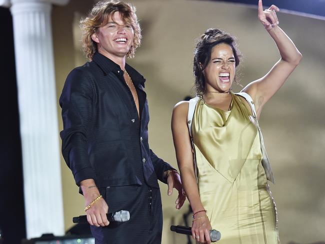 Jordan Barrett and Michelle Rodriguez attend the UNICEF Summer Gala in Porto Cervo, Italy. Picture: Jacopo Raule/Getty Images for UNICEF