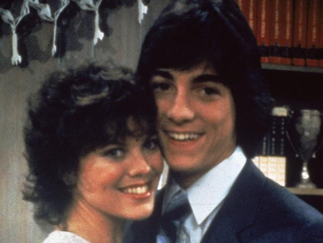 Erin Moran and Scott Baio starred together in TV series Joanie Loves Chachi. Picture: Fotos International/Getty Images