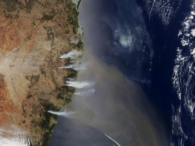 The fires can be seen from space. Picture: NASA Earth Observatory