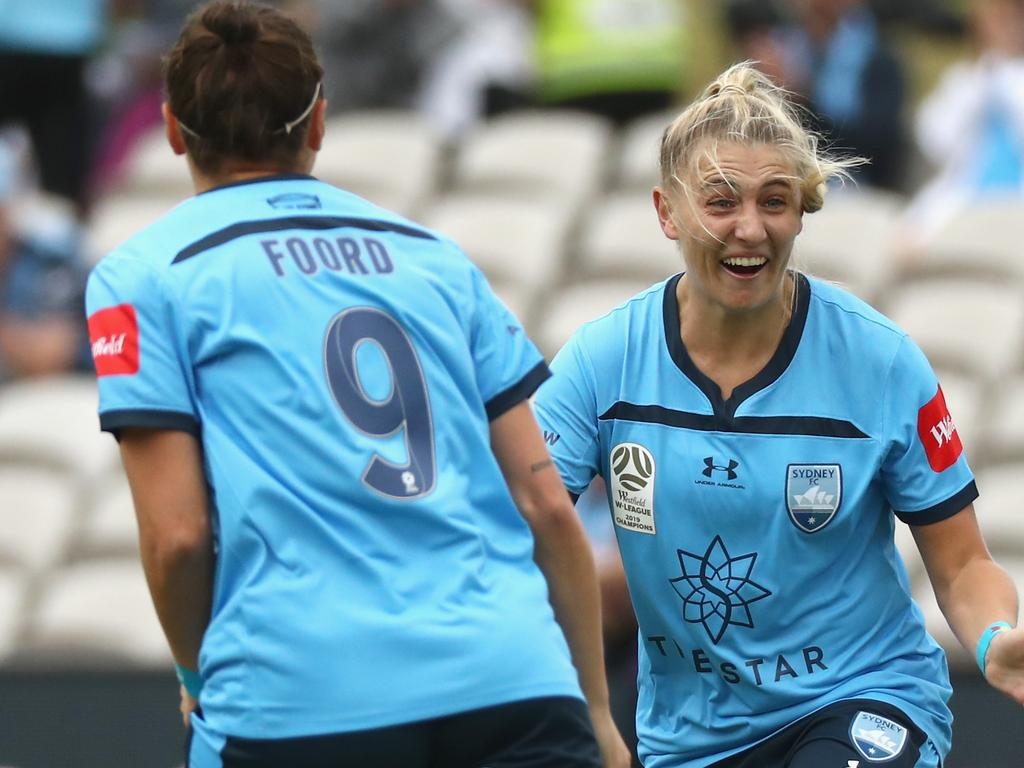 Remy Siemsen of Sydney FC celebrates her goal during the Round 1 W-League match between Sydney FC and Melbourne Victory at Netstrata Jubilee Stadium in Sydney, Sunday, November 17, 2019. (AAP Image/Jeremy Ng) NO ARCHIVING, EDITORIAL USE ONLY