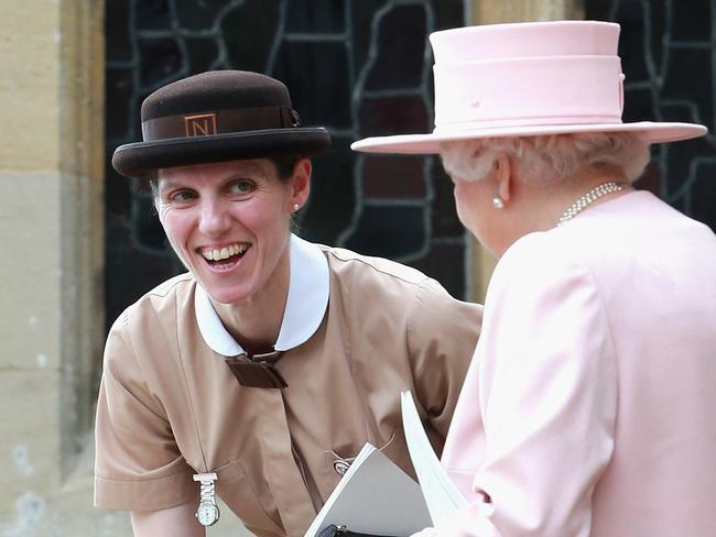 Maria in uniform chatting to the Queen. Picture: Chris Jackson/Getty Images