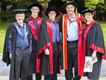 Michael Davies, Assoc Prof John Kenny, Dr Justin Canty, Dr Greg Oats and Dr Michelle Parks at the UTAS Graduation at Launceston. PICTURE CHRIS KIDD
