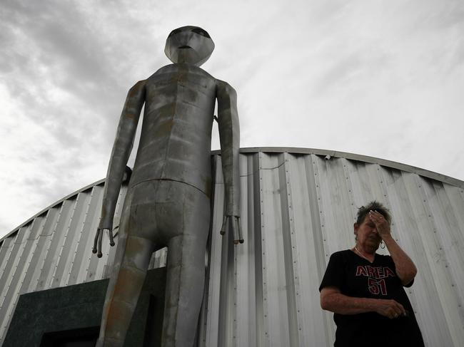 Linda Looney outside of the Alien Research Centre, a gift shop on the Extraterrestrial Highway, in Crystal Springs, Nevada. Picture: AP/John Locher
