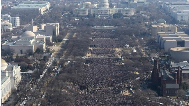 Barack Obama's 2009 inauguration drew adoring crowds … Picture: AP Photo
