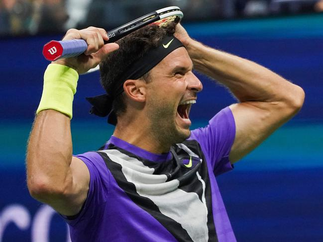 Grigor Dimitrov seemingly couldn't believe he finally beat Roger Federer.
