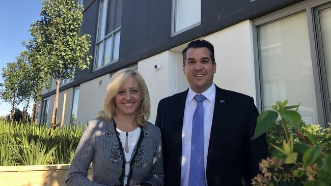Newly elected Lindsay federal Liberal MP Melissa McIntosh with Federal Housing Minister Michael Sukkar visit Harts Landing in Penrith. Picture: Marissa Gordon