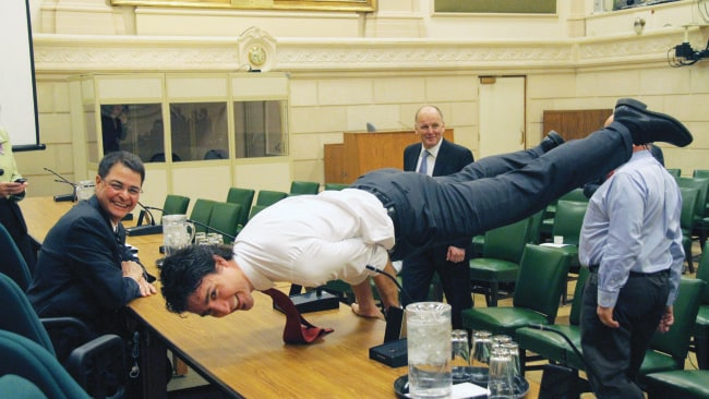 He planks! In parliament! Photo: Supplied