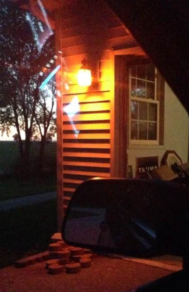 Orange globes on porch lights in their hometown honour the slain teenagers. Source Facebook/Light up in Orange for Abby and Libby