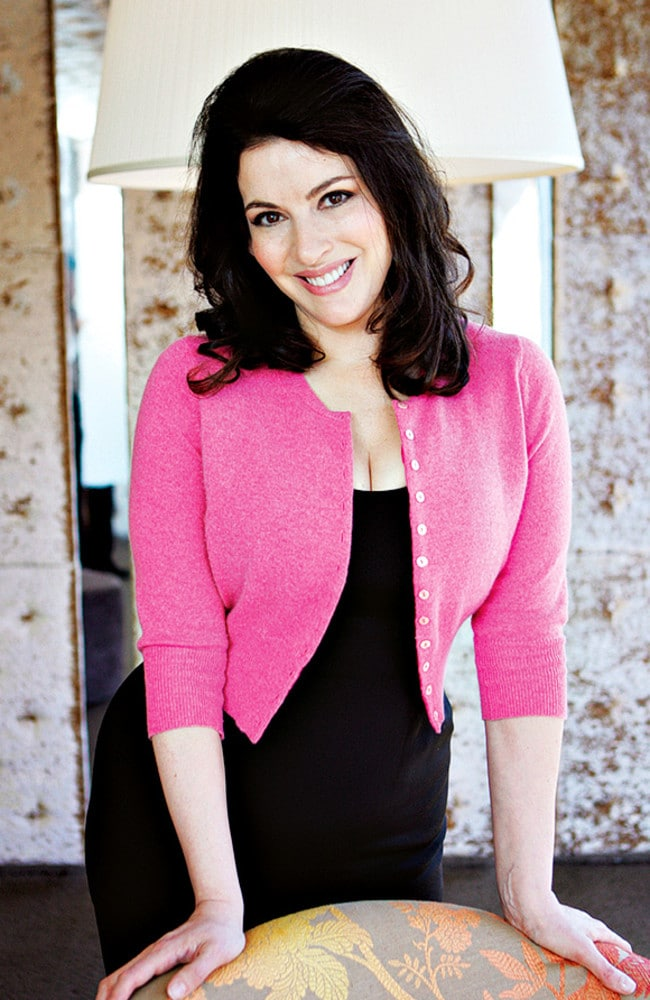 Nigella Lawson's signature cardigans are tailored to fit. Picture: Lloyd Justin