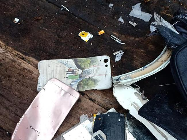 Facebook images of debris from Lion Air Flight JT610, which crashed after leaving Jakarta. Picture: Supplied