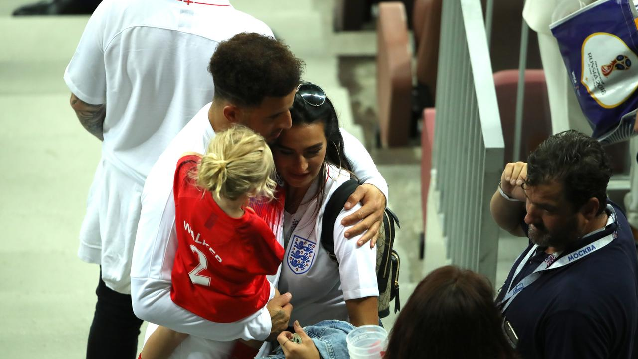 Kyle Walker with his ex Annie Kilner during the 2018 FIFA World Cup in Russia