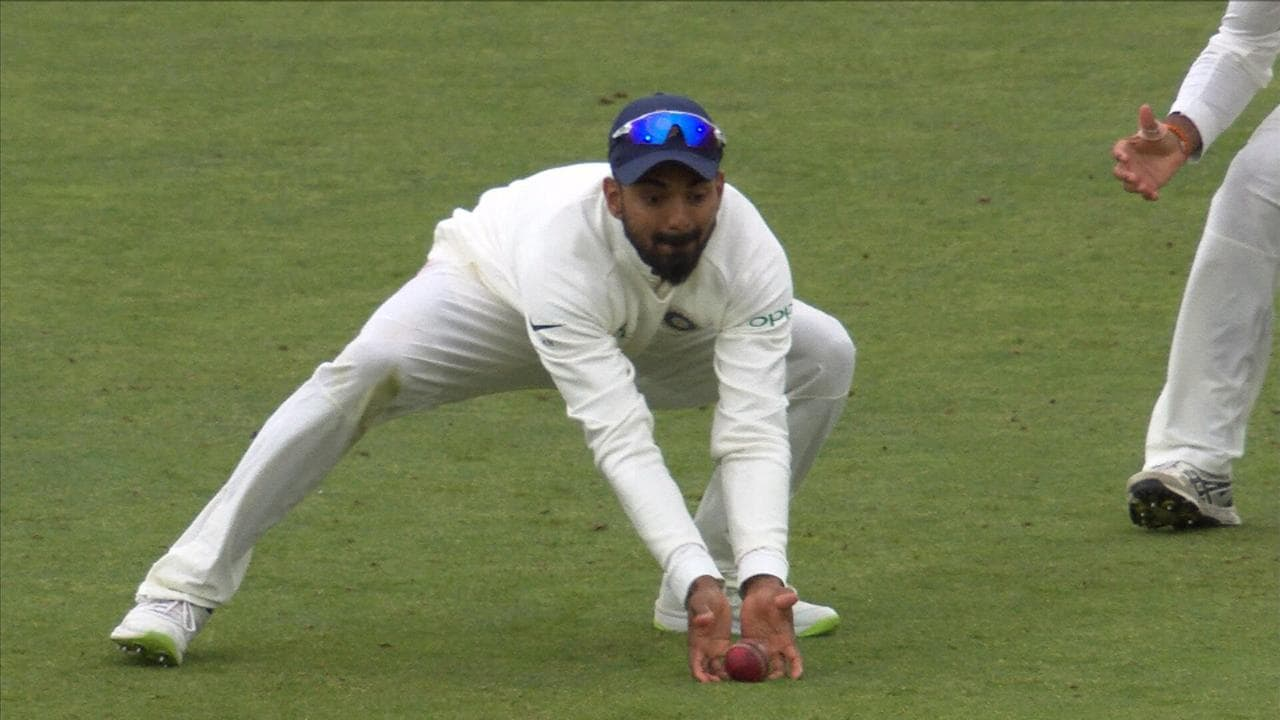 KL Rahul claimed his fingertips snuck underneath the ball as he wheeled away in celebration.