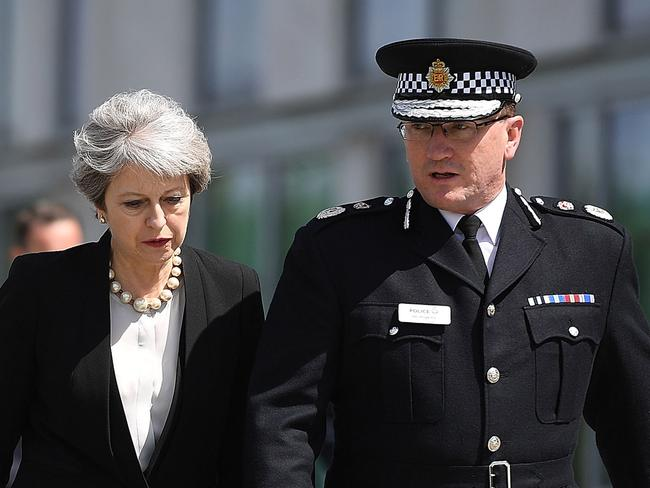 Theresa May met Chief Constable of Greater Manchester Police Ian Hopkins in Manchester, England. Picture: Getty