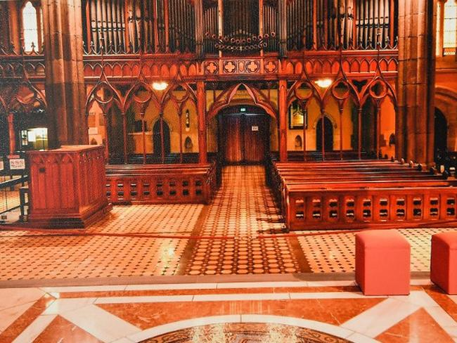 An image tendered as evidence and obtained on Thursday, February 28, 2019, shows the interior of St Patrick's Cathedral in Melbourne where the offences Cardinal George Pell was found guilty of occurred. (AAP Image/Supplied by the County Court)