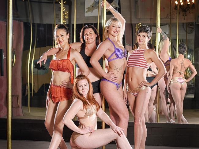 (L-R) Deanna Sky, Amber Ray, Lynne Wills, Daisy Peach, & Faye Fonteyn pose during a photo shoot at Peach Pole Studios in Erina, New South Wales.