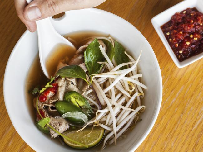 Pho actually refers to the rice noodles, not the soup itself.