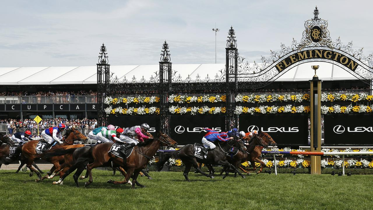 A shot of the finish of the 2019 Melbourne Cup, won by Vow and Declare.