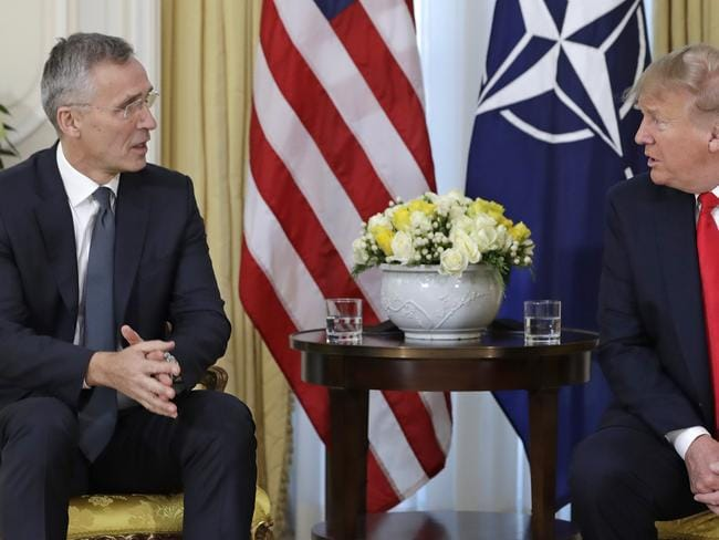 NATO Secretary-general, Jens Stoltenberg holds a press conference with US President Trump at the US Ambassador's residence at Winfield House Picture: AP Photo/Evan Vucci.