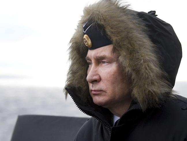 Russian President Vladimir Putin watches a navy exercise from the Marshal Ustinov missile cruiser in the Black Sea earlier this month. Picture: Alexei Druzhinin, Sputnik, Kremlin Pool Photo via AP