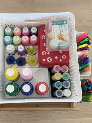 Leilah's craft trolley has all her things neatly stored inside. Picture: Instagram / LittleStrongHome