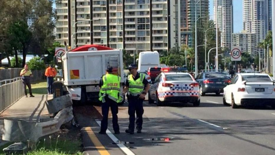 M1 crash at Burleigh involving car and truck cases traffic