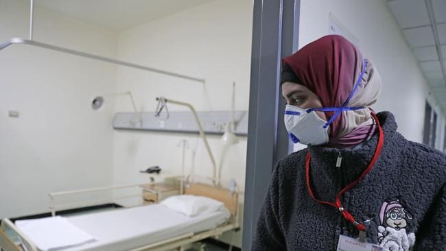 This is the first ward in Lebanon where a coronavirus patient was treated in the country, at the Rafik Hariri University Hospital, Beirut. Picture: Anwar Amro/AFP