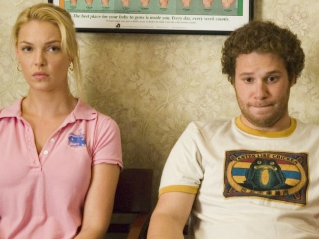Katherine Heigl and Seth Rogen in a scene from Knocked Up. Photo: Universal Pictures
