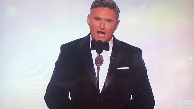 Dave Hughes took aim at the scandal as he opened the 2017 Logies. Picture: Supplied