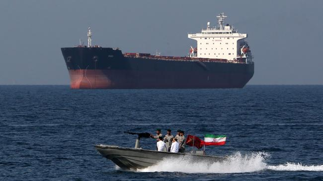 Iranian soldiers patrol the Strait of Hormuz. Picture: AFP